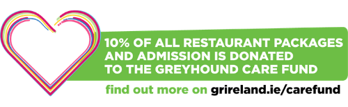 10% of your Christmas Party package is donated to the Greyhound Care Fund
