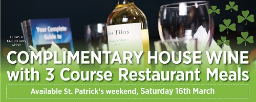 Enjoy complimentary wine with your 3 course meal at your local greyhound stadium this St. Patrick's weekend