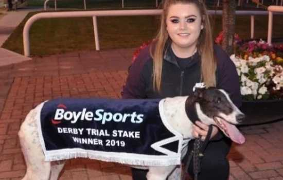 Debbie O'Rourke pictured in Shelbourne Park with her greyhound