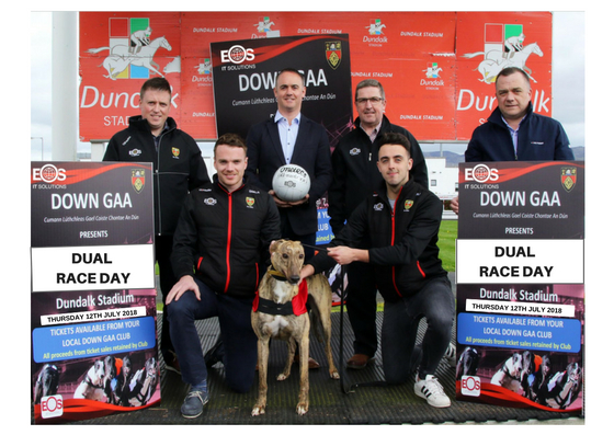 Down County Players Brendan McArdle and Ryan Johnstown pictured with Down County Chairman Sean Rooney, Down GAA Assistant Treasurer Diarmuid Cahill, Daniel Strain from EOS and Down GAA Ulster Council Delegate Michael McArdle