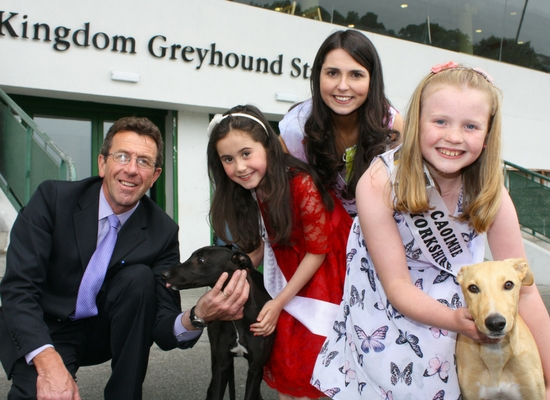 Pictured at the Kingdom Greyhound Stadium are L-R Declan Dowling Stadium Manager, Rose Bud Cliodhna McElligott from Lixnaw, Kerry Rose Breda O'Mahony from Rathmore & Rose Bud Caoimhe O'Mahony from Millstreet with greyhound pups.