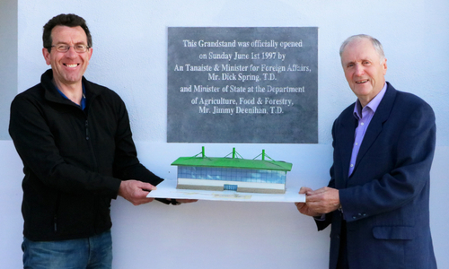 Declan Dowling and John Ward preparing for the 21st birthday celebrations of the Grandstand at Kingdom Greyhound Stadium