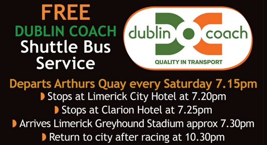 Free Bus from Limerick city to Limerick Greyhound Stadium every Saturday night